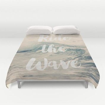 Art Duvet Cover Ride the Wave photography home decor photograph photo nautical beach house ocean blue nature bedding full queen king bedroom
