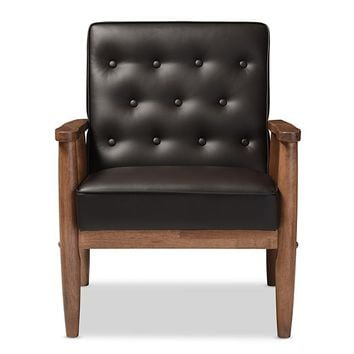 Baxton Studio Sorrento Mid-century Retro Modern Brown Faux Leather Upholstered Wooden Lounge Chair Set of 1