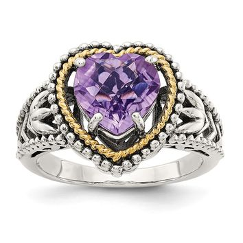 Sterling Silver Two Tone Silver And Gold Plated Sterling Silver w/Antiqued Amethyst Heart Ring
