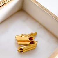 Copper Cuff Links, Vintage Cufflinks, Gold Yellow, Wedding, Gift for the Groom, Penne Pasta Spaghetti, Him, Man, ohtteam