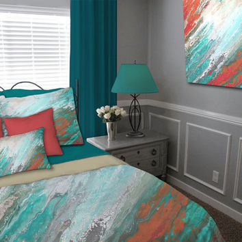 Abstract Duvet cover, Teal gray aqua coral, Queen King Full Twin, Bedding set art, Designer home decor, Master Bedroom, Contemporary Modern
