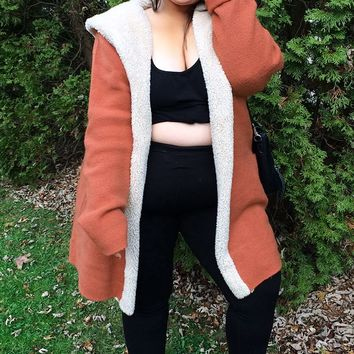 Plus Size Faux Shearling Cardigan
