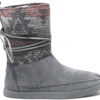 TOMS Shoes Grey Suede Jacquard Nepal Boots Women's Winter Shoes,