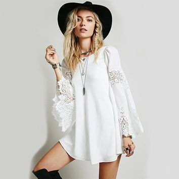 Chiffon Lace Embroidered Bell Sleeve A Line Mini Dress   White/black