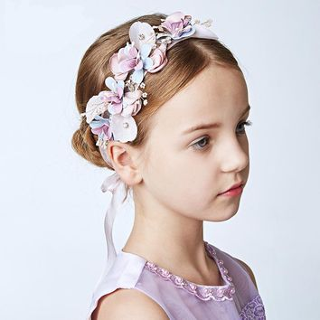 Bridesmaid wreath Little Girl Wedding Jewelry Hair Accessories Hairpieces Long Bridal Hairbands