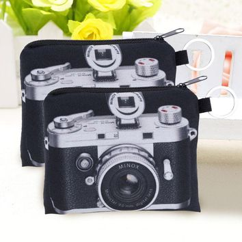 Smile For The Camera Zip Pouch - Cute Camera Pattern Coin Purse Zipper Bag Key Wallet Pouch Purse Clutch 12*9.5cm