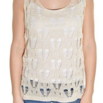 Lace Knit Sparkle Sweater Layering Tank Top Shirt (Beige)