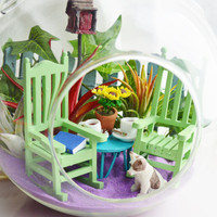 Friendship Garden Terrarium Kit ~ Coffee Cups ~ Rocking Chairs ~ Fence with Ivy ~ 3 Air plants ~ Dog or Cat ~ Birdhouse ~ Gift idea
