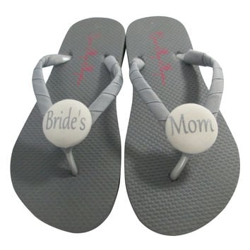 Ivory & Gray Bride's Mom Wedding Shoes, Flip Flop Sandals