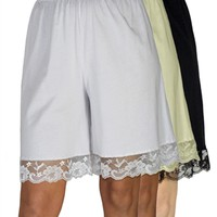 Pettipants Cotton Knit Culotte Slip Bloomers Split Skirt 9-inch Inseam 3-Pack - Underworks