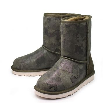 UGG Winter Warm New Leather Popular Camouflage Women Medium Boots Anti-Skid Boots Shoe I