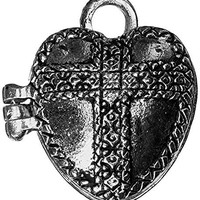 Prayer Box Metal Charm 1/Pkg-Antique Silver Heart