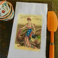 Thanksgiving Tea Towel Americana USA Flour Sack Turkey Tea Towel
