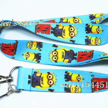 Free Shipping Despicable Me key lanyards id badge holder Minions keychain straps for mobile phone