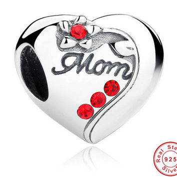 Authentic 925 Sterling Silver MOM Red Heart Charms fit Original PANDORA Bracelet