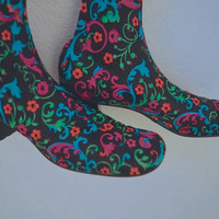 1960s Mod Pan-T-Boots / Rare 60s Psychedelic Mod All in One Tights and Boots / Stocking Boots Sz 8