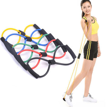 Hot Sale 1piece 8 Shaped Elastic Tension Durable Rope Chest Expander Yoga Pilates Sport Fitness Belt Body Shape Tool Health Care
