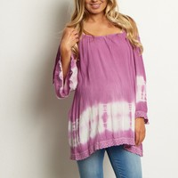 Lavender-Tie-Dye-Cold-Shoulder-Top