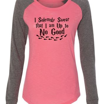 "Womens ""I Solemnly Swear That I Am Up To No Good"" Long Sleeve Elbow Patch Contrast Shirt"