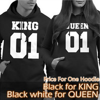 2016 Couple Matching Hoodies King 01 and Queen 01 Back Print Cute Hooded Sweatshirts [8833377164]