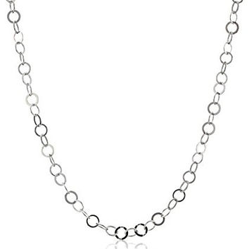 Sterling Silver Flat Circle-Link Chain Necklace, 30""