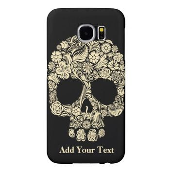 Monogram Black and White Floral Sugar Skull Samsung Galaxy S6 Cases