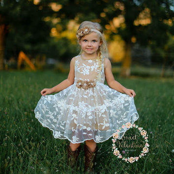 Girls dress, lace flower girl dress, girls dress, girls lace dress, easter dress, brown lace dress, rustic flower girl dress, birthday dress