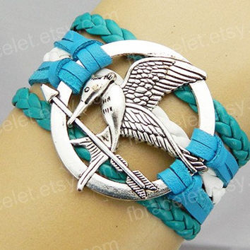 catching fire,blue white leather bracelet,charm bracelet,Mockingjay pin bracelet, diy jewelry Personality bracelet friendship gift