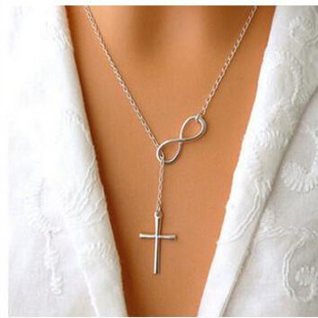 Women Sexy Cross Infinite Lariat Pendant Necklace