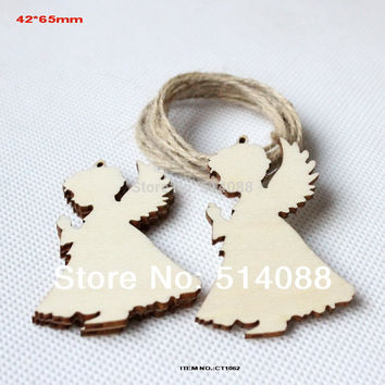 (50pcs/lot) 65mm unfinished unpaid wood angel rustic tags Christmas decor gift hanging tags-CT1062