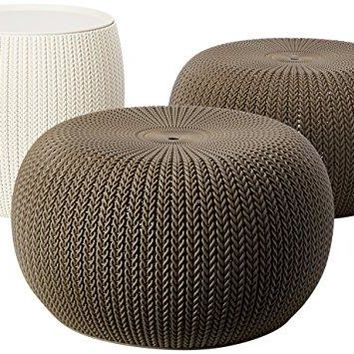 Keter 3 Piece Compact Indoor/Outdoor Table & 2 Seating Poufs Cozy Urban Knit Furniture Set