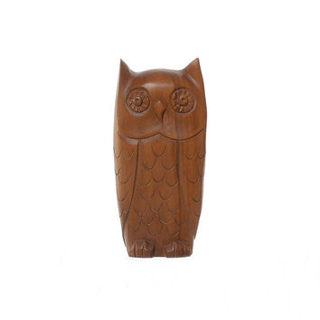 Vintage 60s Margal Wood Owl Statue 1960s Mid Century Mod Carved Wooden Sculpture Hippie Tiki Bird Boho Luau Kitsch MCM Home Decor
