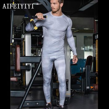 Winter warm 2017 Mens High Elastic scales Base Layer Tight body shapers Breathable quick dry compression thermal underwear set