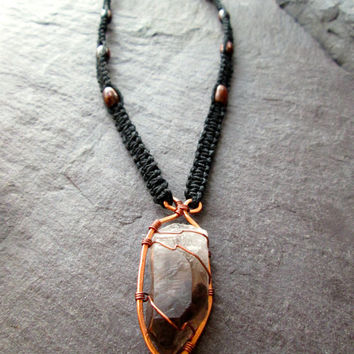 Smoky Quartz Necklace, Wire Wrapped Hammered Copper on Braided Black Hemp, Raw Black Crystal, Pagan Wicca Shaman Druid Necklace, Made in UK