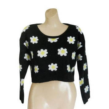 Crop Top Sweater Cropped Sweater Spring Sweater Daisy Shirt Floral Sweater 90s Clothing 90s Clothes 1990s Clothing Festival Clothing