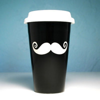 Black Mustatache Travel Mug - insulated ceramic to-go coffee cup