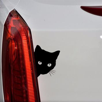 Black Cat Car Stickers and Decals Pet Decals Car Styling Auto Motorcycle Sticker Window Door Decoration Cat Face Peering 12*15CM