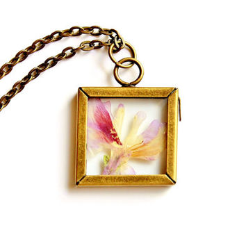 Terrarium Necklace Nature Jewelry Pressed Flower Angel Wings in Antique Brass and Glass Pendant