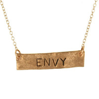 ENVY Stamped Necklace Copper Bar Necklace Metal Stamped Jewelry Unique Gift Idea Necklace Personalize Custom Word Quote Pendant