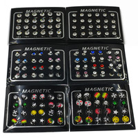 12pairs 3/4/5/6/8mm Rhinestone Crystal Magnet Magnetic Earrings Magic Unisex Fake Cheater Ear Plugs Nose Lip Ring