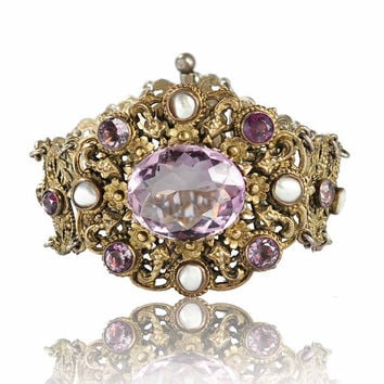 Antique Austro Hungarian Pearl Amethyst Bracelet Gilt Silver Wide Floral Links 1800s Vintage Jewelry