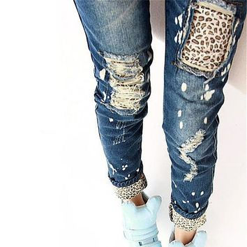 Fashion Brand Leopard Slim Fit Pencil Jeans Woman Trousers Casual Ripped Jeans Denim Pencil Pants Asian/Tag Size S-2XL