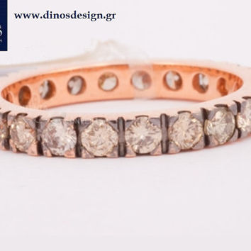 All time classic pink gold and diamond ring. BRILLIANT BROWN(1.65) , 18Carat 3.3gr. An excellent gift for her. Designed by Dinos Koukiaris.
