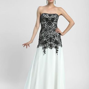 Sue Wong - N4134 Strapless Lace Overlay A-line Gown
