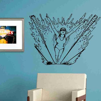 Girl Swimming A Race Vinyl Wall Decal Sticker Wall Art Graphic