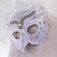 White Silver Brocade and Leather Owl Masquerade Mask on Handmade Artists' Shop