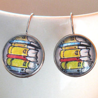 Book Stack Earrings Bookish Literary Themed Round