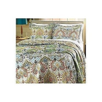Queen Size 3 Piece Quilt Comforter Shams Bedding Set Paisley Moroccan Print NEW