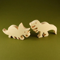 Wood Toy Dinosaurs 2 Piece Play Set by nwtoycrafters on Etsy
