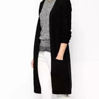Solid Color Knitted Long Cardigan